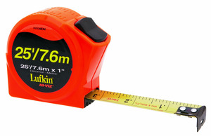 Lufkin HV1048DM 8m x 25mm Power Tape  Ft/10th/100th/Metric