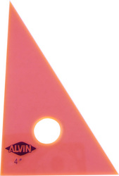 "ALVIN 130F-4 4"" fluorescent orange 30/60 drafting triangle"