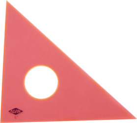 "ALVIN 131F-6 6"" fluorescent orange 45/90 drafting triangle"